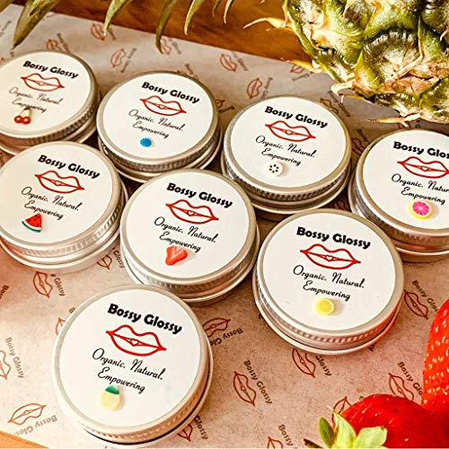 Bossy Glossy Lip Balm Full Collection of 8 Different Flavours | Smooth & Moisturising Lip Repair/Care while giving Naturally Fruity Soft Lips ║ Scents Naturally Occurring in Essential Oil