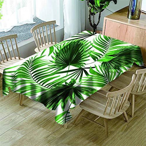 Morbuy Manteles Antimanchas Rectangular, 3D Planta Impresión Manteles de Mesa Cuadrada Impermeable Prueba de Polvo Lavable Mantel para Cocina Salón Jardín (Tropical Hojas de Palma,140x140cm)
