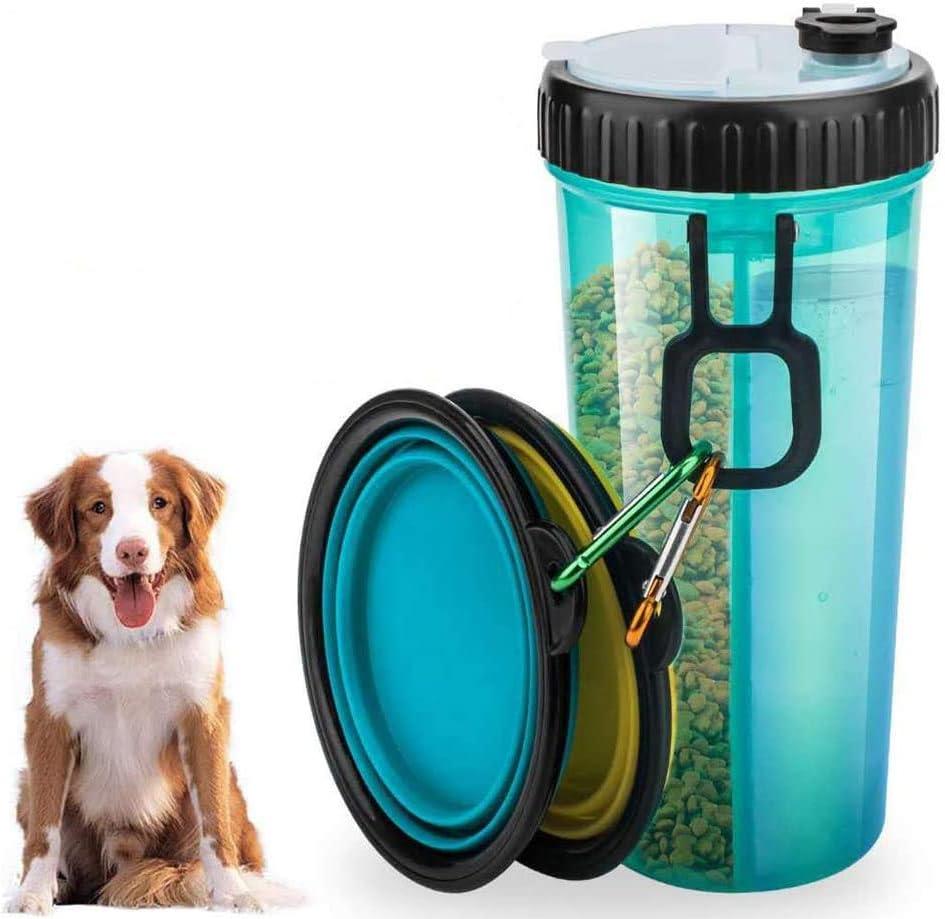 Botella de Agua de Viaje para Mascotas Recipiente de Agua para de Viaje Port/átil Antibacteriano a Prueba de Fugas Botella de Doble C/ámara 2 en 1 con 2 Bandejas Plegables Perros Alimentador de Gatos