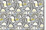 Stoffe-Online-Shop Softshell Dino, grau-gelb