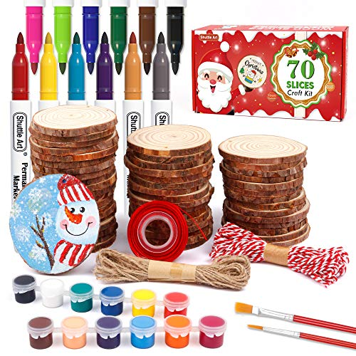 Natural Wood Slices 70 PCS 2.8-3.1 Inches Craft Wood Ornament Kit, Unfinished Predrilled Wooden Circles with Hole, Jute Twine, Acrylic Paint, Markers for DIY Decoration by Shuttle Art