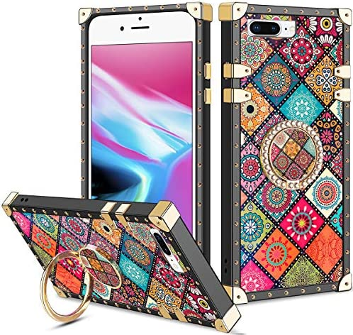 Vofolen for iPhone 8 Plus Case iPhone 7 Plus Case Ring Holder Kickstand Exotic Colorful Square product image