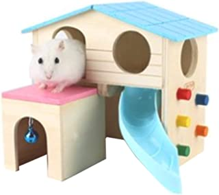 Alfie Pet - Alvin Wood Hut for Small Animals Like Dwarf Hamster and Mouse - Color: Blue