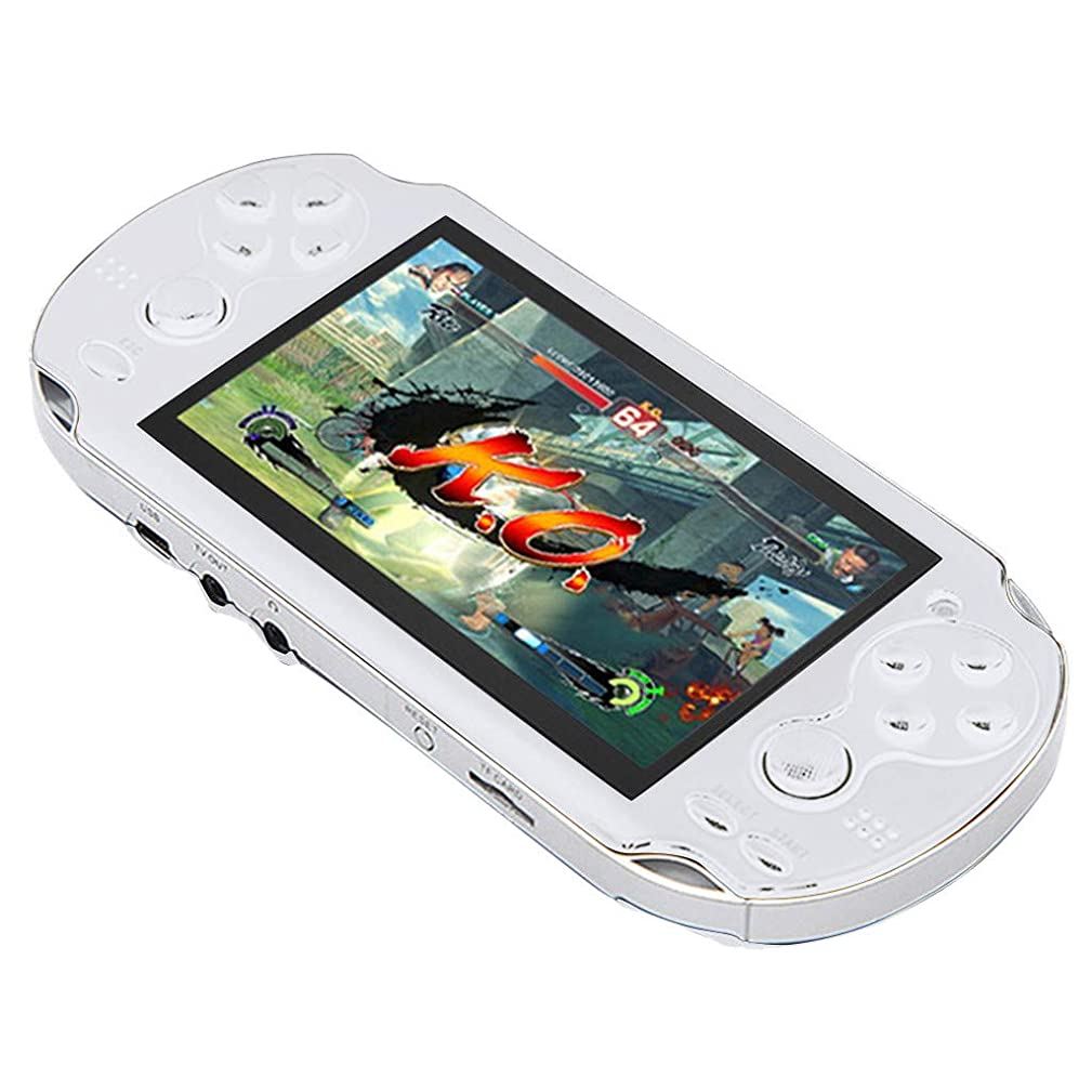 Basde Handheld Game Console Kids Adults, Retro Classic Game Console Handheld Portable 800 Built-in 4.3 Inch Games Home Travel Portable Gaming System Childrens Tiny Toys (White)