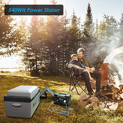 KYNG Portable Power Station 540wh Solar Generator Backup Lithium Battery Pure Sine Wave AC Outlet, 1000w peak, Emergency Power Supply, CPAP, Outdoors, Camping, Portable Generator Rechargeable Inverter
