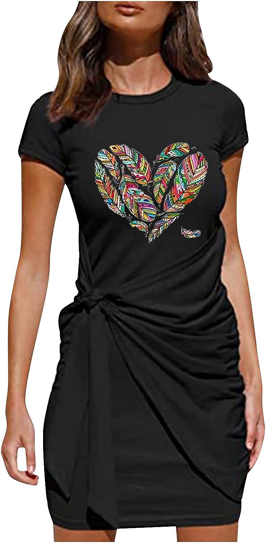 Women's Summer T Shirt Dress Casual Short Sleeve Crewneck Butterfly Print Bodycon Tie Waist Ruched Mini Dresses