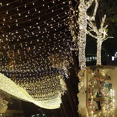 Uping Guirlande Lumineuse Guirlande LED Blanche, 300 LED avec Adapteur Européen, Décoration Noël Chambre Mariage Jardin (Blanche Chaude)