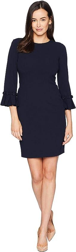 Pleated Sleeve Crepe Dress