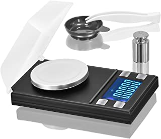 Digital Milligram Pocket Scale 50 x 0.001g, Mini Jewelry Gold Lab Carat Powder Weigh Scales with Calibration Weights Tweezers, Weighing Pans, LCD Display