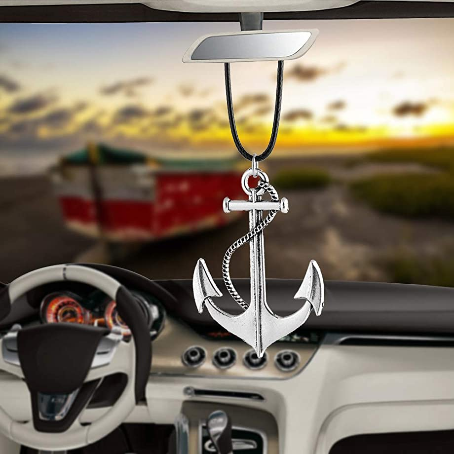 BEMOST Car Pendant Ox Head Ship's Anchor with Skull Hanging Ornaments for Car Rear View Mirror Decoration Charm Car Accessories (Anchor)
