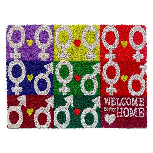 koko doormats felpudos Entrada casa Originales, Fibra de Coco y PVC, Felpudo Exterior All Welcome TO MY Home, 40x60x1.5 cm | Alfombra Puerta Entrada casa Exterior | Felpudos Divertidos para Puerta
