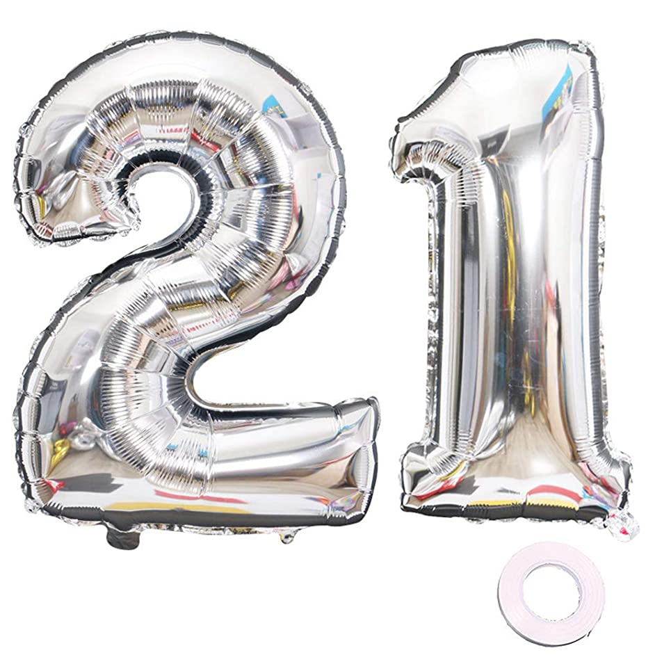 Juland Silver Number 21 Balloons Large Foil Mylar Balloons 40 Inch Giant Jumbo Number Balloons for Birthday Party Decorations
