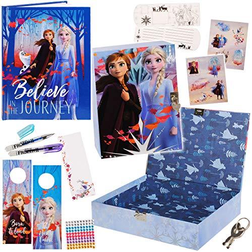 alles-meine.de GmbH XXL - Tagebuch Set + Geheimbox - Disny die Eiskönigin - Frozn - mit Schloss + Buch + 2 GelStifte + Sticker + Briefumschläge + Türschilder / gebunden für Gehei..