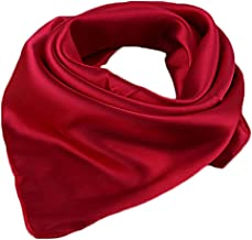 Women Satin Square Scarf Wrap Silk Feel Solid Color Hair Scarf Accessory 23""