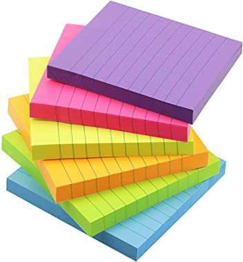 Early Buy 6 Bright Color Lined Sticky Notes Self-Stick Notes 3 in x 3 in, 100 Sheets/Pad, 6 Pads/Pack