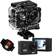 Action Camera 4K Ultra hd WiFi Waterproof DV Camcorders 16MP 170 Degree Wide Angle Lens 2.0 inch LCD Screen is Designed for Extreme Sports (Black)