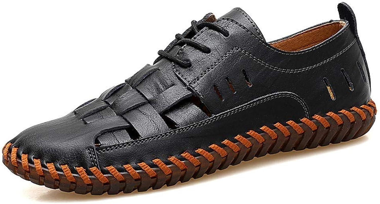 Yydt Men's shoes Outdoor Sports Men's Breathable Sandals Leather Woven Beach shoes Men's shoes (color   8.5 UK)
