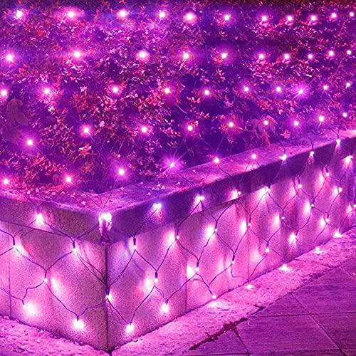 Luces de red al aire libre, luces de neta de hadas de jardín, 1.5m x 1,5 m 96 LED, 8 modos de iluminación Temporizador regulable, luces de cadena de malla al aire libre con batería, for decoraciones e