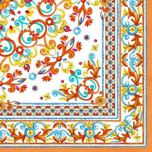 20 Servietten Mediterranes Dekor orange als Tischdeko und für Bastelarbeiten mit Decoupage 33x33cm