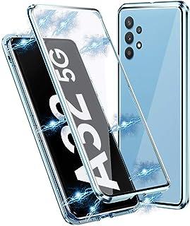 Samsung Galaxy A32 5G Hoesje, Magnetische adsorptie Metal Bumper Frame Flip Cover met 360 graden Dubbele kanten Transparen...