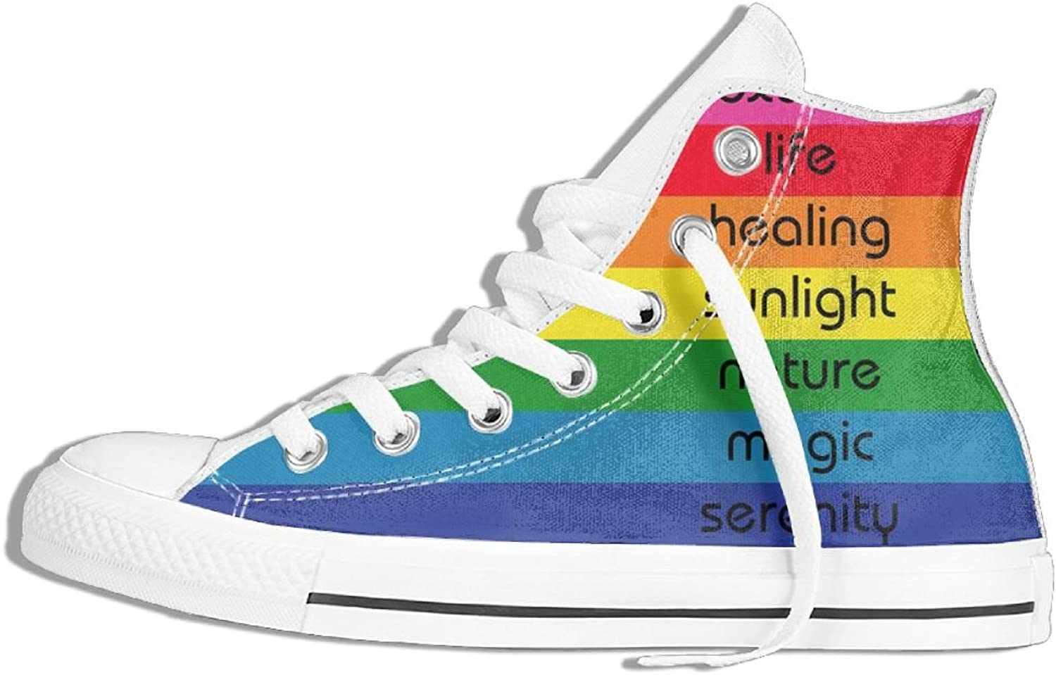 HDMEI Womens Rainbow Flag colors Meanings High-Top Sneakers shoes Flat Casual Canvas Running shoes