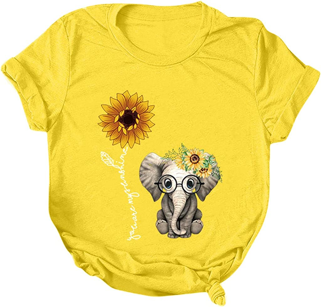 FABIURT Cute Summer Tops for Women,Womens Tops and Blouses Sunflower Print Tees Short Sleeve Tunic Crew Neck Tshirts