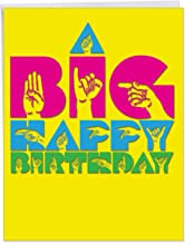 Big Signs Happy Birthday' Large Birthday Card w/Envelope 8.5 x 11 Inch - Bright and Bold Colors, Large Font with ASL Design, Sign Language Stationery for Personalized Greetings and Wish J4974ABDG