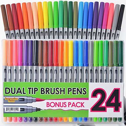 2 Pack - Dual Tip Brush Pens with Fineliner Tip (24 PACK, No Duplicates!) Paint Brush Style Ink Tip and 0.4mm Fine line tip on the other side