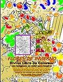 FLORES DE INVIERNO Divino Libro de Colorear con imágenes en color para inspirar Páginas en blanco y negro con líneas borrosas a la izquierda + ... a la derecha Actividad divertida para Navidad