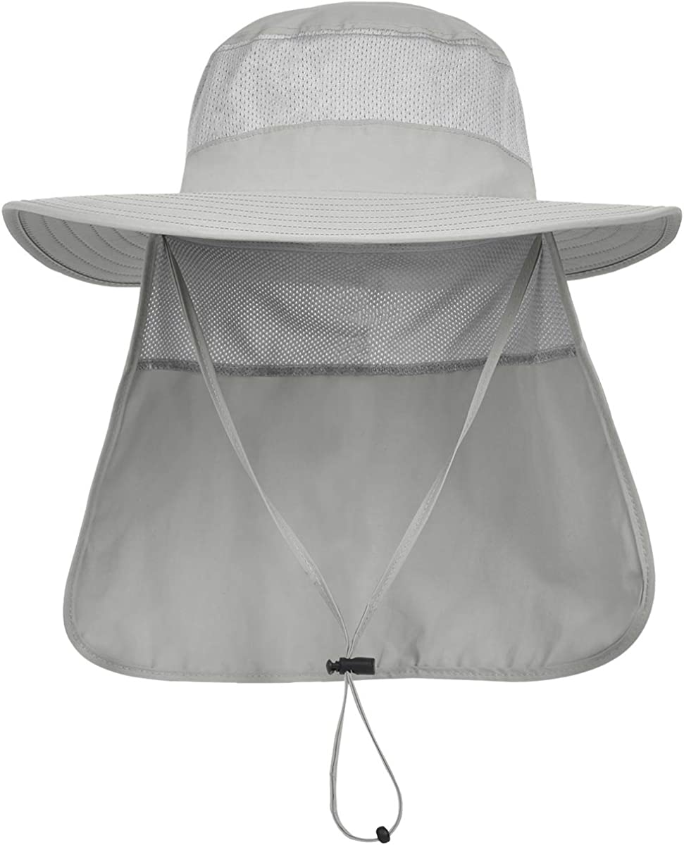 LCZTN Mens UPF 50+ Sun Protection Safari Cap Wide Brim Fishing Hiking Hat with Neck Flap for Garden Work