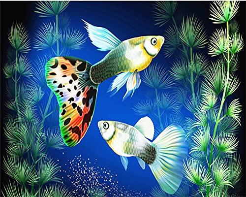 Xofjje Pintar por Numeros Adultos_Pescado de Aguas Profundas_DIY Pintura por números con_Pinceles y Pinturas Decoraciones para el Hogar_40x50cm_Sin Marco
