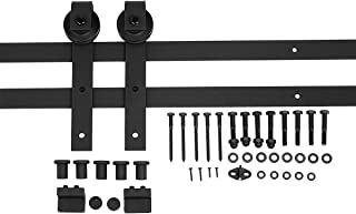 AmazonBasics Sliding Barn Door Hardware Kit, 6.6 Foot, J Shape, Black