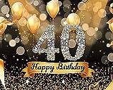 Fondo para 40 cumpleaños Bokeh con purpurina dorada para fotos de 3 x 2,4 m con 40 cumpleaños, decoración para fiestas de cumpleaños, accesorios para mesa de tartas, suministros W-5376
