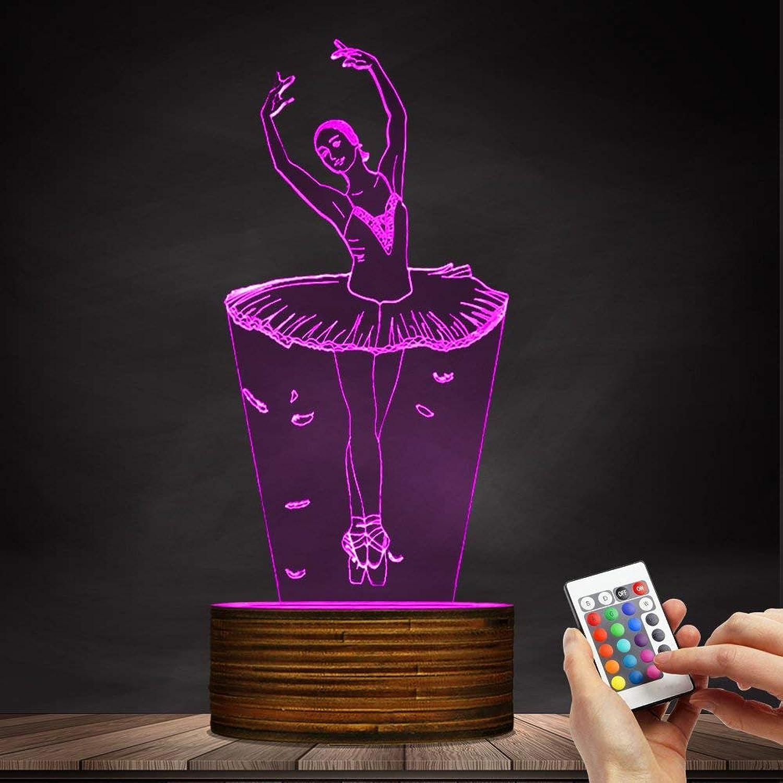 ZHJXQD 3D dekoratives Nachtlicht Ballerina-LED-Nachtlicht USB beleuchtete Nachtlichter-Mdchen-Raum-dekorative Tischlampe, Ballett-Tnzer Emotionales Nachtlicht