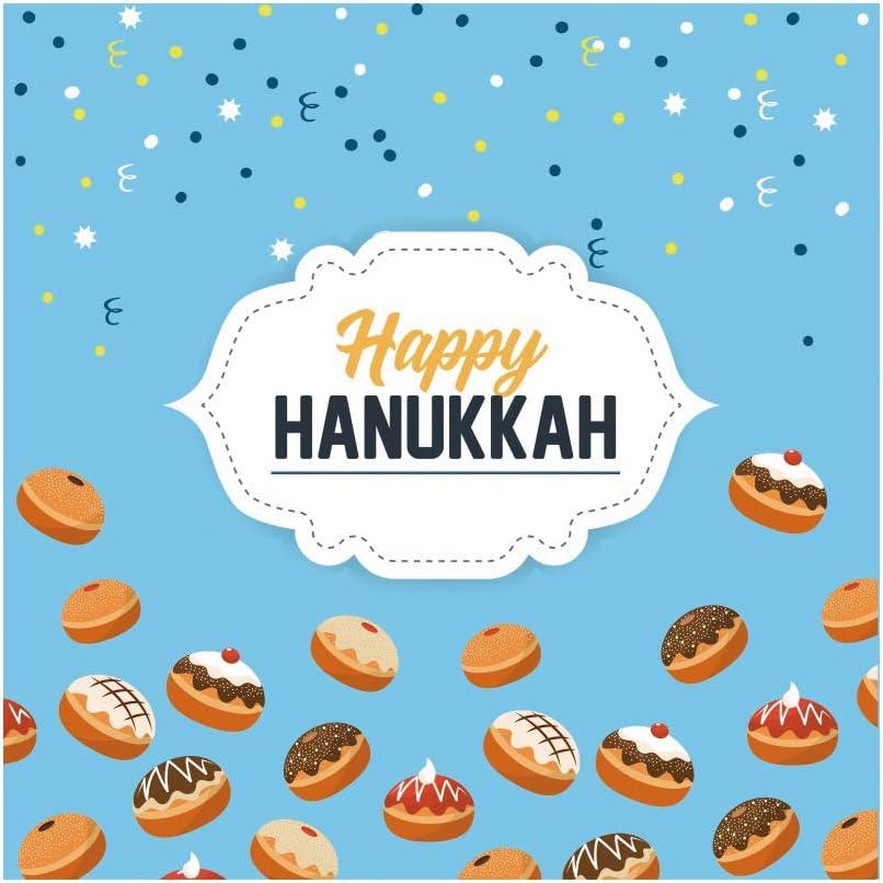 CSFOTO 10x10ft Happy Hanukkah Backdrop Jewish Chanukah Background for Photography Bread Cake Dessert Jewish Traditional Festival Celebration Kids Adults Portraits Photo Wallpaper