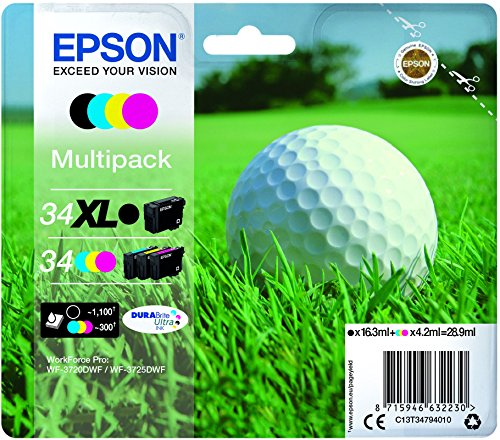 Epson C13T34794010-34XL MPACK Ink (XL BKundSTD cm - Multipack Ink Jet Print Cartridges, Black, Cyan, Magenta, Yellow