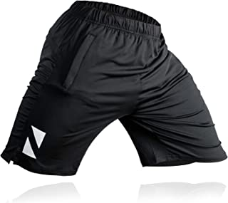 Athletic Workout Shorts with Zipper Pockets - Sweat Wicking Gym Short (Black)