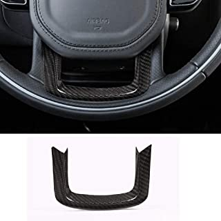 YIWANG Real Carbon Fiber Car Steering Wheel Decoration Trim 1pc For Range Rover Sport 2014-2017 For RR Velar Auto Accessories