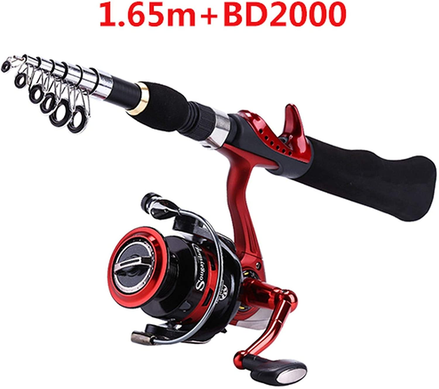 ZZmeet Spinning Fishing Rod with BD2000 Reel Set Olta 1.65m Red Portable Travel Carbon Fishing Rod Combo Fishing Pole