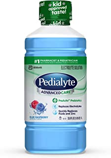 Pedialyte Advancedcare Electrolyte Solution With Preactiv Prebiotics, Hydration Drink, Blue Raspberry, 1 Liter