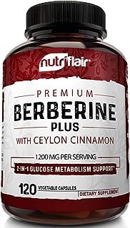 Premium Berberine HCL 1200mg Plus Organic Ceylon Cinnamon - 120 Capsules - Healthy Blood Sugar, Glucose Metabolism, Immune...
