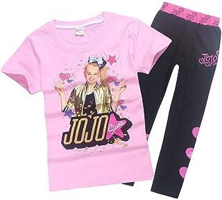 Girls JoJo Siwa Print Cartoon T Shirt+Trousers Children Casual Set 2pcs