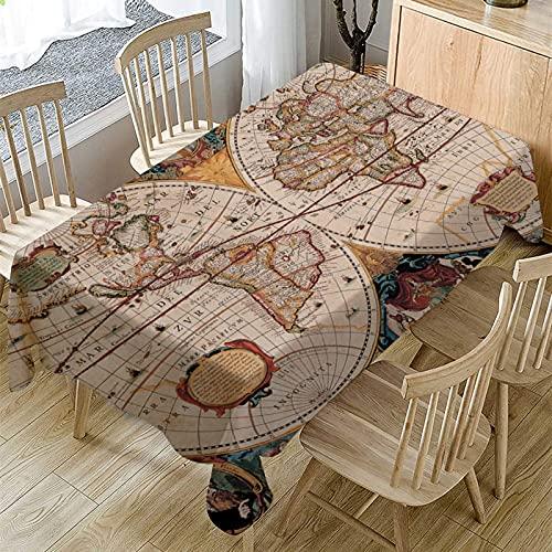 Mantel Moderno Y Simple con Impresión De Mapas, Mantel Rectangular para El Hogar, Adecuado para Manteles De Varias Mesas