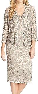 Alex Evenings Women's Tea Length Lace Jacket Dress (Petite and Regular)
