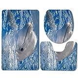 Alfombrilla de baño Antideslizante de Tres Piezas de Secado rápido con Esponja Gruesa de impresión 3D de delfín Verde-C1 Alfombra de Ducha con Espuma de Memoria baño de Secado rápido