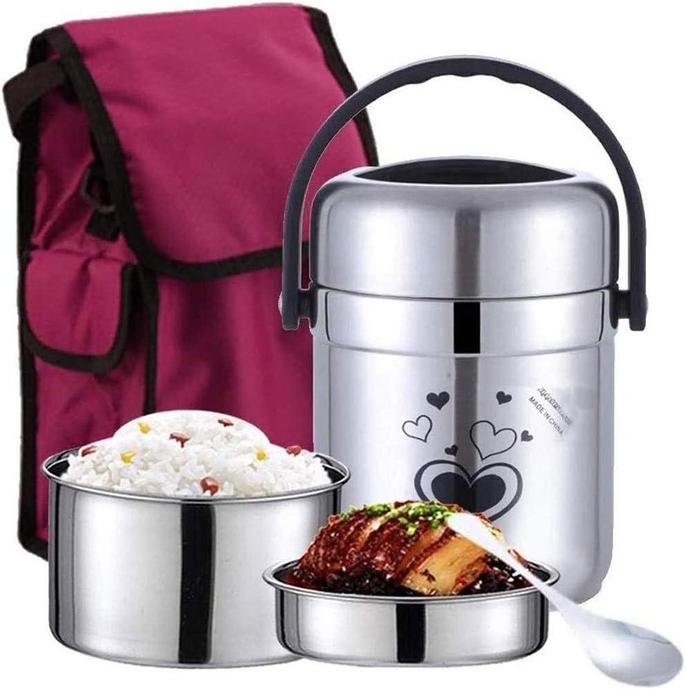 Fiambrera De acero inoxidable aislado almuerzo Tarro con bolsa térmica, tarro vacío sopa termo Alimentos for picnics escolares trabajo, Can mantuvo 5-6 horas de almacenamiento de alimentos Bento Box,