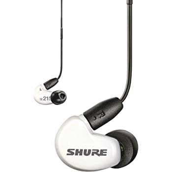 Shure SE215 Wired Sound Isolating Earbuds, Clear Sound, Single Driver, Secure In-Ear Fit, Detachable Cable, Durable Quality, Compatible with Apple & Android Devices - White