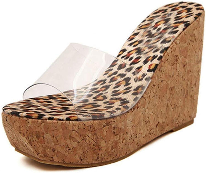 Women's Wedge Clear Wooden Platform High Heel Fashion Sandals Female Peep Toe Summer Fashion shoes