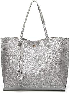 Damen-Handtasche, weiches PU-Leder, Schultertasche, großes Fassungsvermögen, Quaste oben