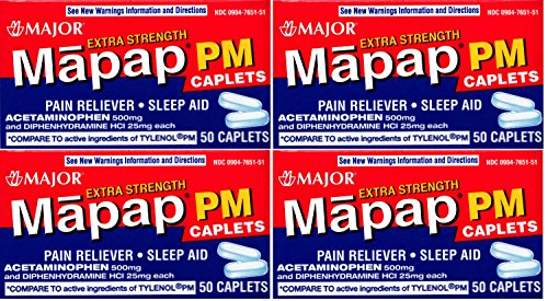 Acetaminophen PM Extra Strength Pain Reliever, Fever Reducer, Antihistamine & Nighttime Sleep Aid Generic for Tylenol PM Acetaminophen 500 mg & Diphenhydramine 25 mg 50 Caplets per Bottle PACK of 4 Total 200 Caplets